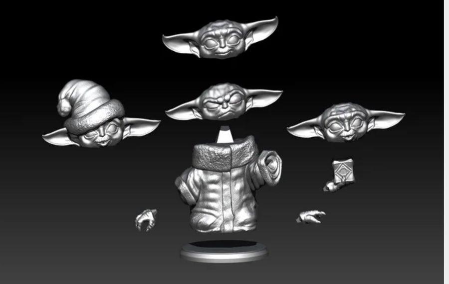 Many face Baby Yoda 3D print