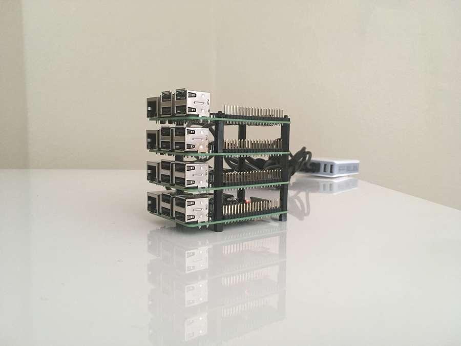 Raspberry Pi vertical computing cluster
