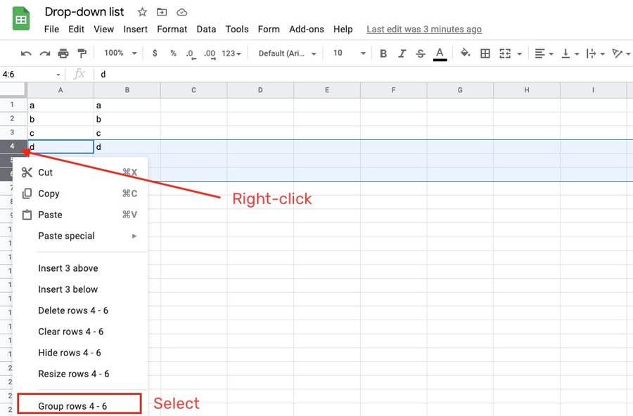 Select Group Rows Google Sheets