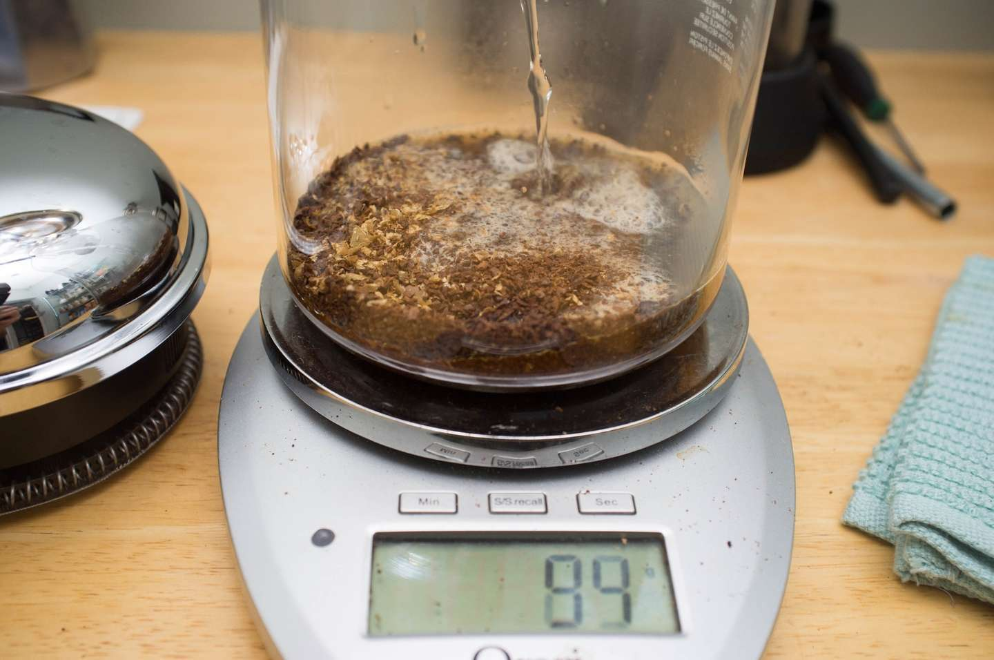 Pour water slowly into the french press