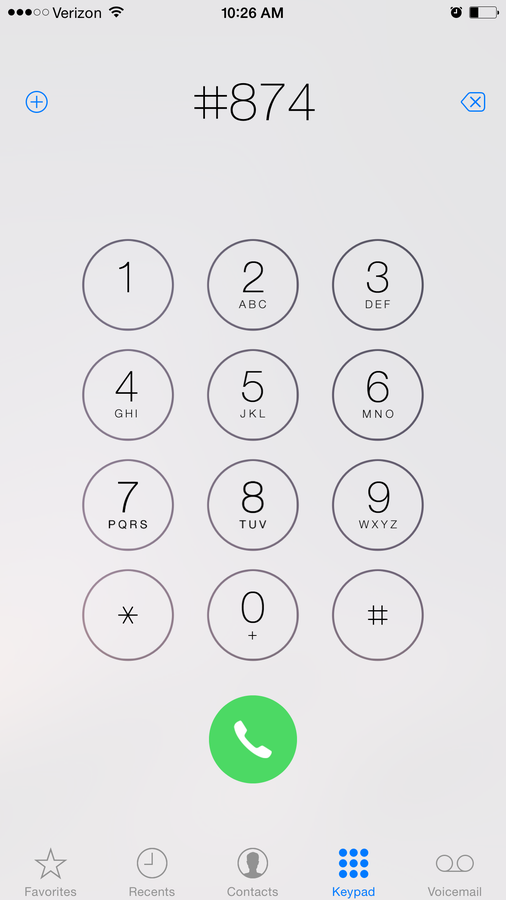 Dial #874 and press the Call button