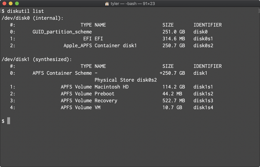 Run diskutil list on macOS