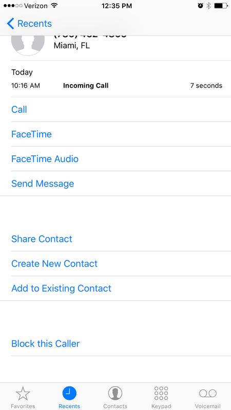 Block a caller from your recent calls list
