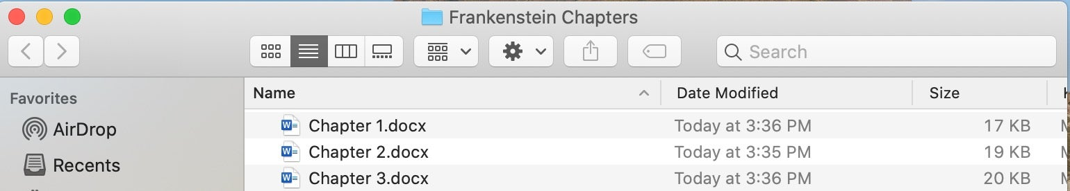 Frankenstein Chapter files