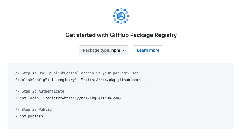 Publish npm package with GitHub Package Registry.