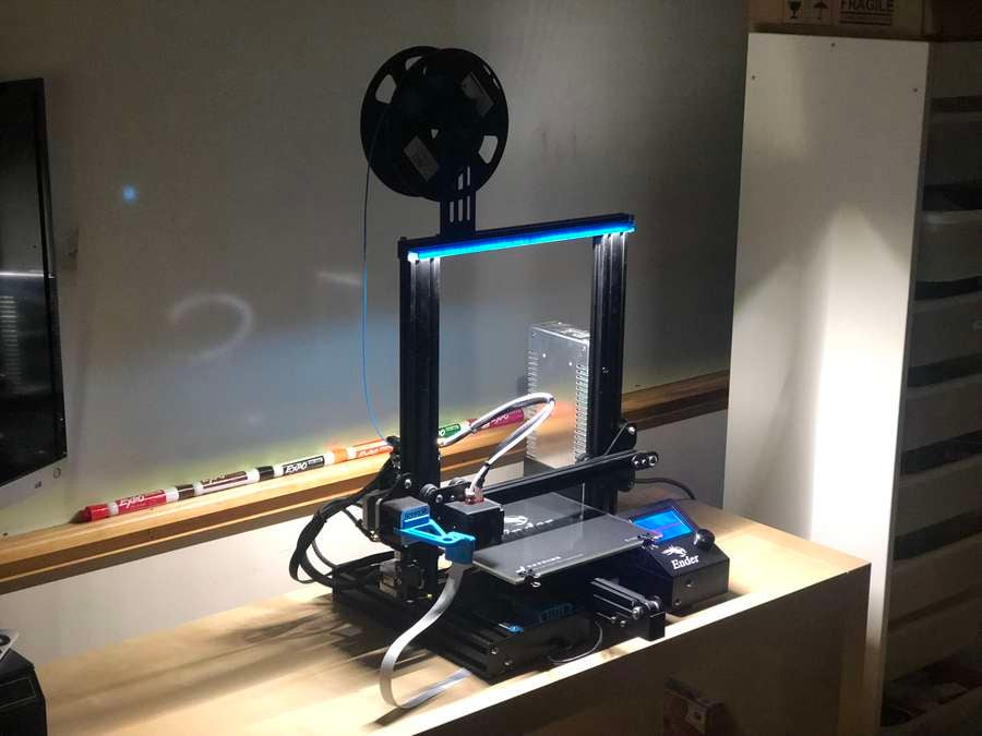 Completed 3D printer LED lighting setup