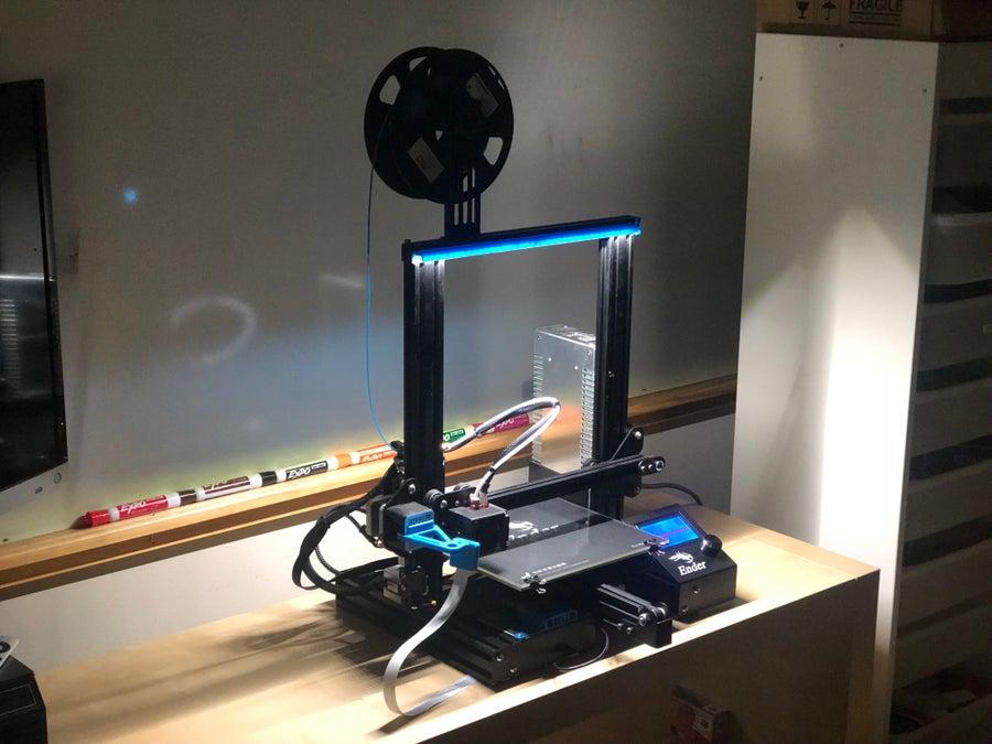 Completed 3D printer LED lighting setup