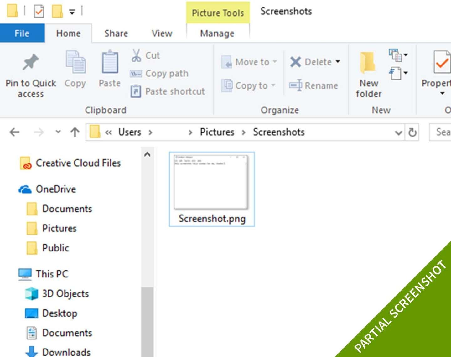 partial windows 10 screenshot