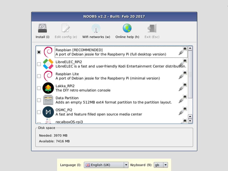 Raspberry Pi NOOBS software