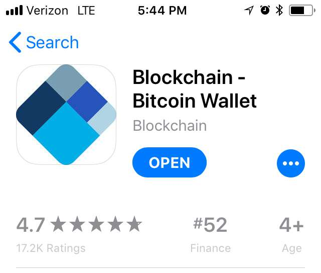 Download the Blockchain app from the app store