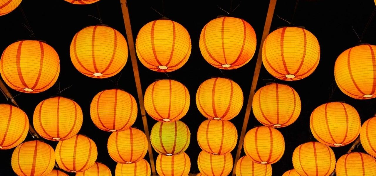 paper lanterns in backyard