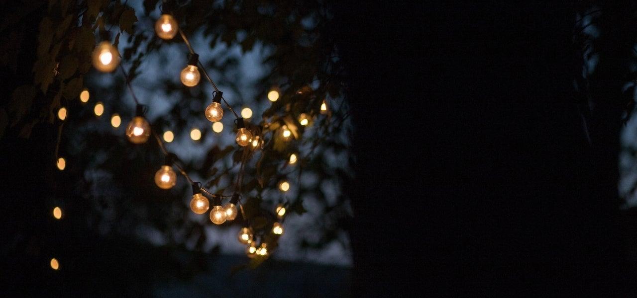 globe lights in backyard
