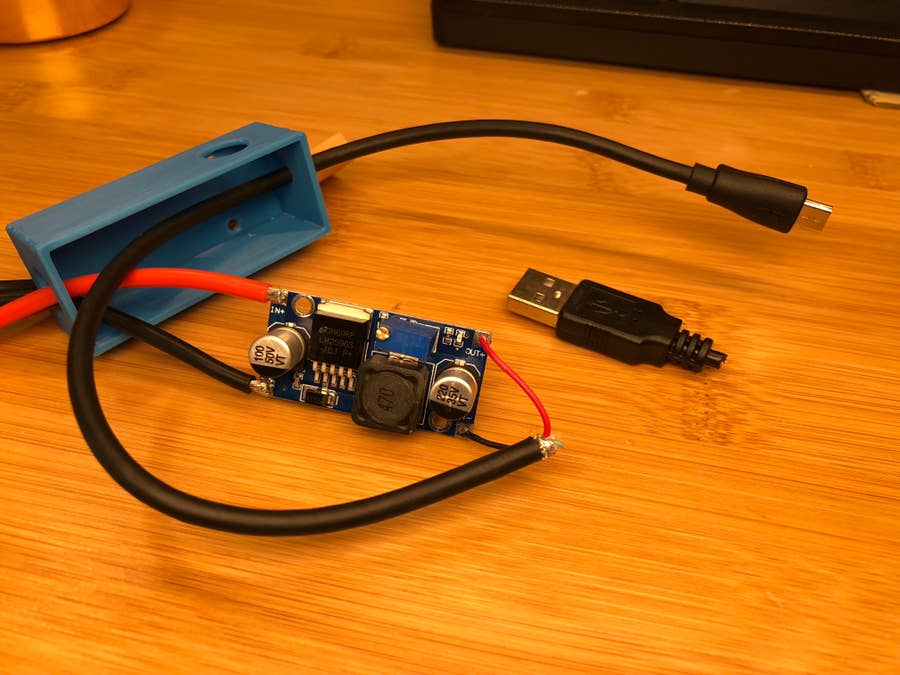 Soldered buck converter output wires