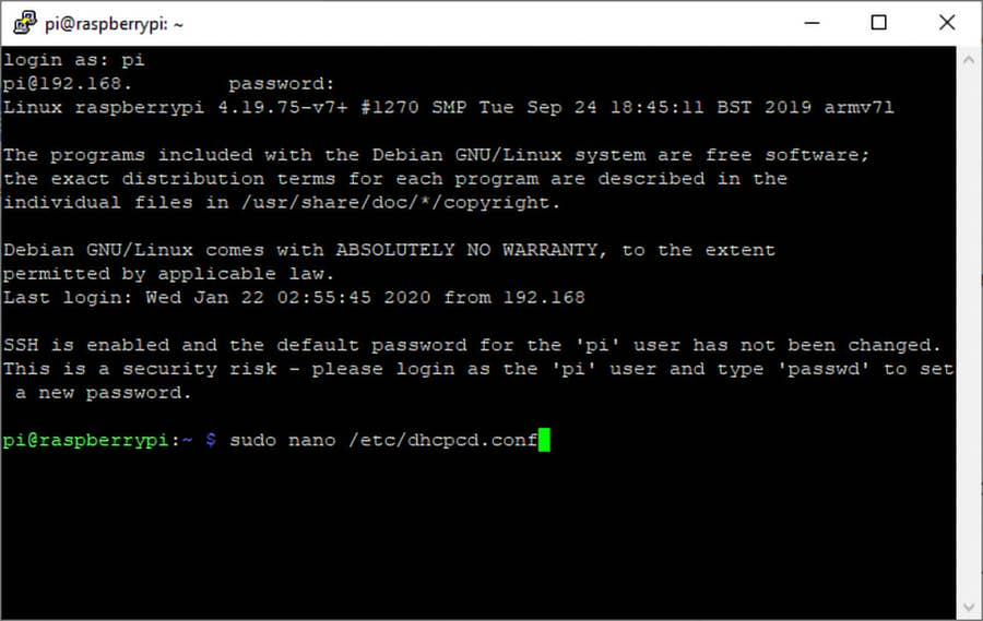 Edit DHCPDC Raspberry Pi OS