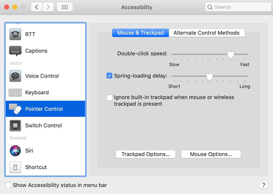 Pointer Control Accessibility Mac