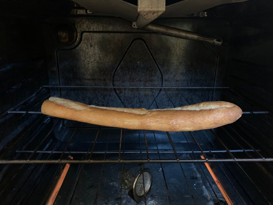 Reheat bread in oven