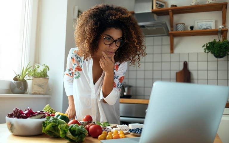 Woman looking at recipes