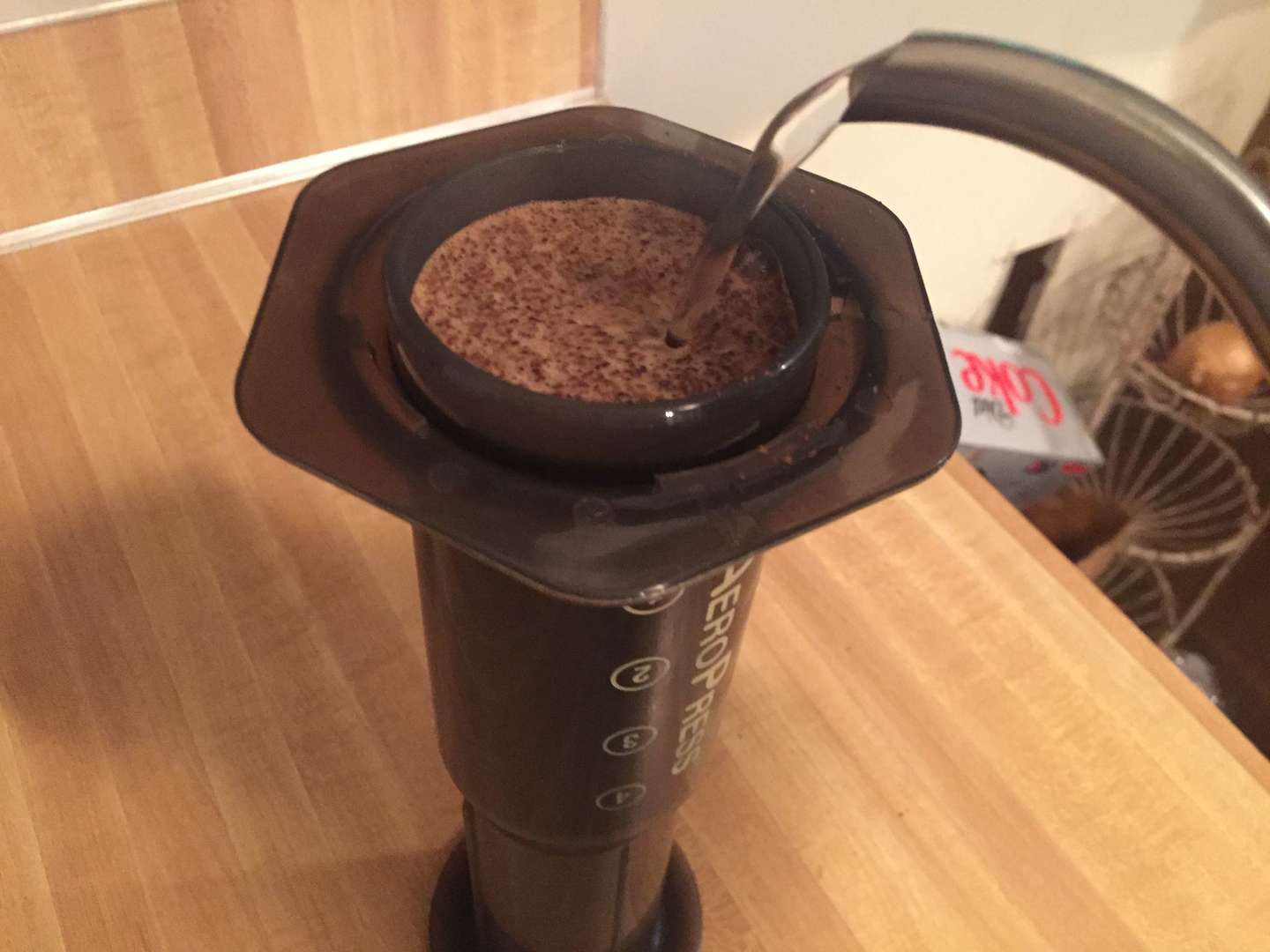 pouring water into an upside down aeropress