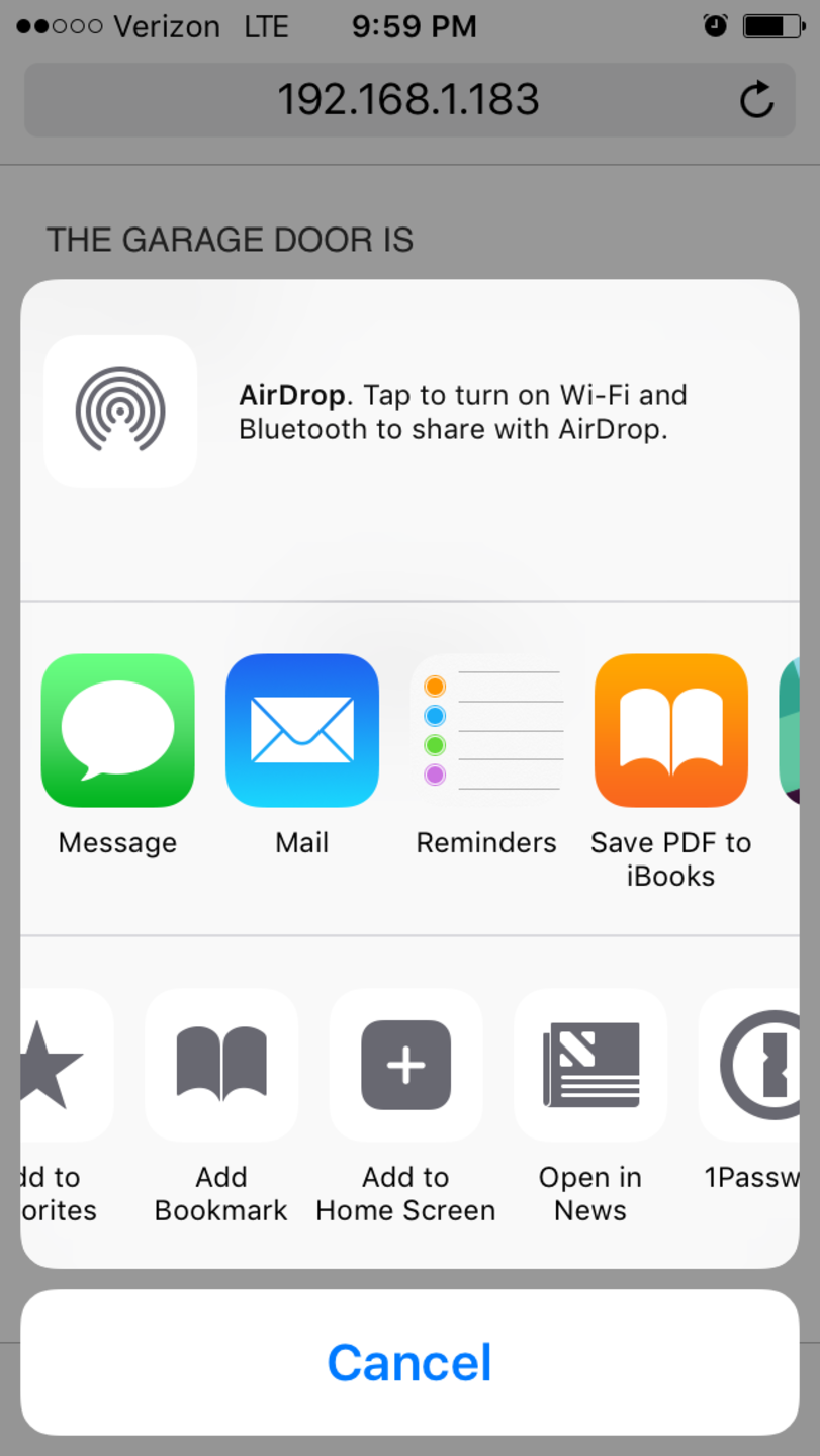 iOS Add To Home Screen menu