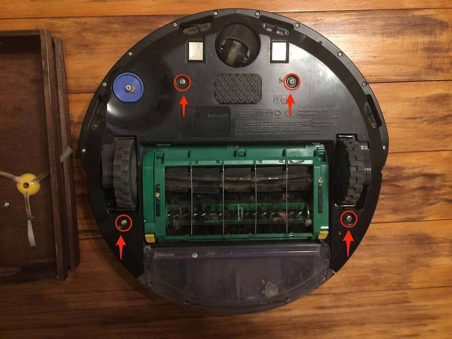 Roomba bottom plate removal
