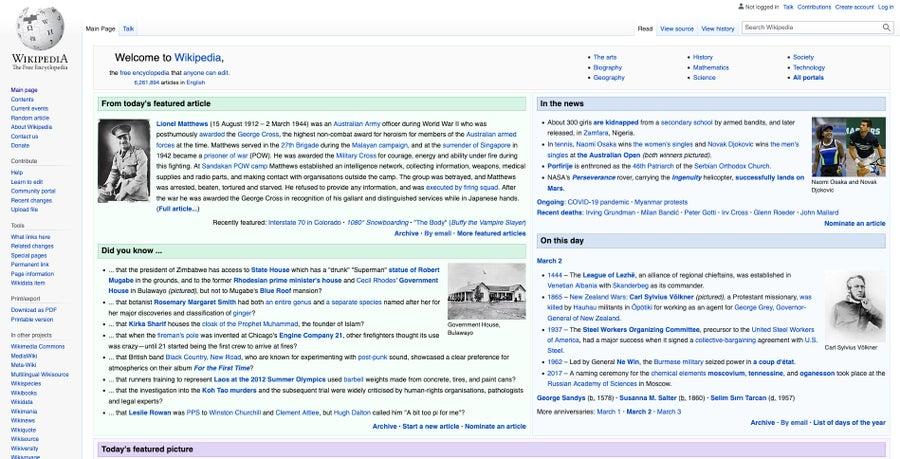 Wikipedia homepage 2021