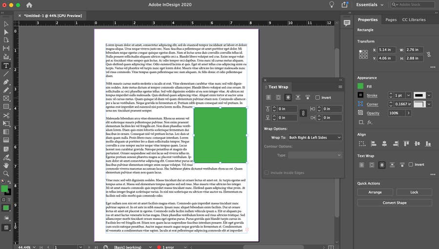 Wrap Around Object in Indesign
