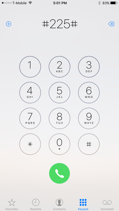 Dial #225# and press the Call button