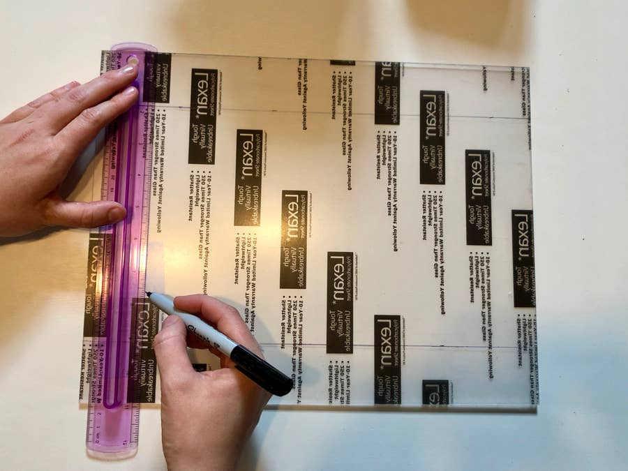 Measure and mark the polycarbonate sheet