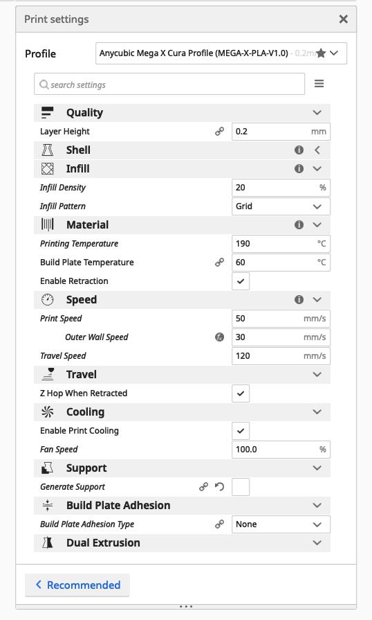 Mega X print settings