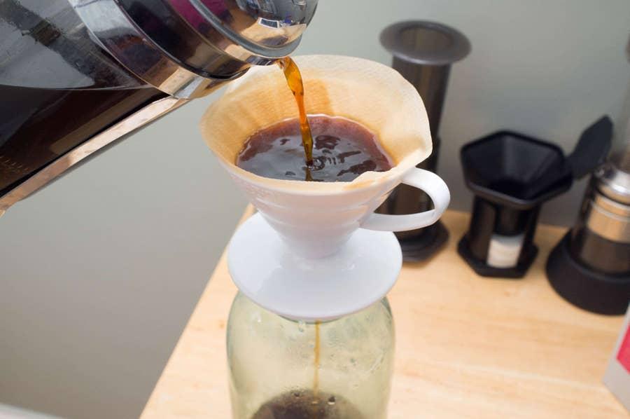 Pour through filter into vessel