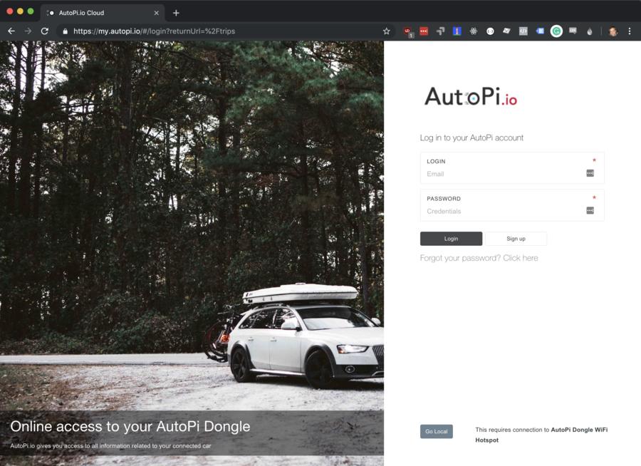 AutoPi account creation screen