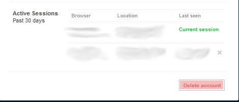 Account settings delete
