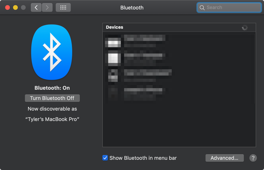 macOS Bluetooth settings.
