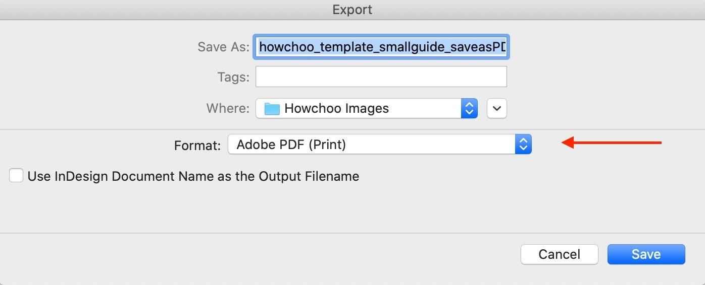 Export Menu InDesign as PDF
