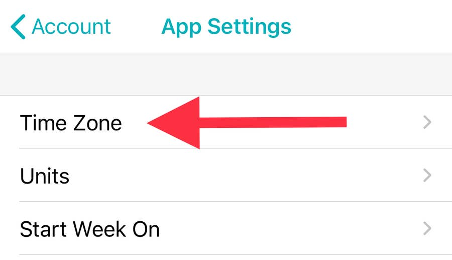 Time Zone in Fitbit app