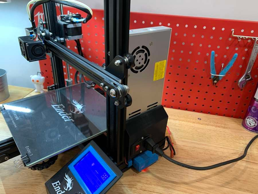 MeanWell PSU assembly mounted on the Ender 3