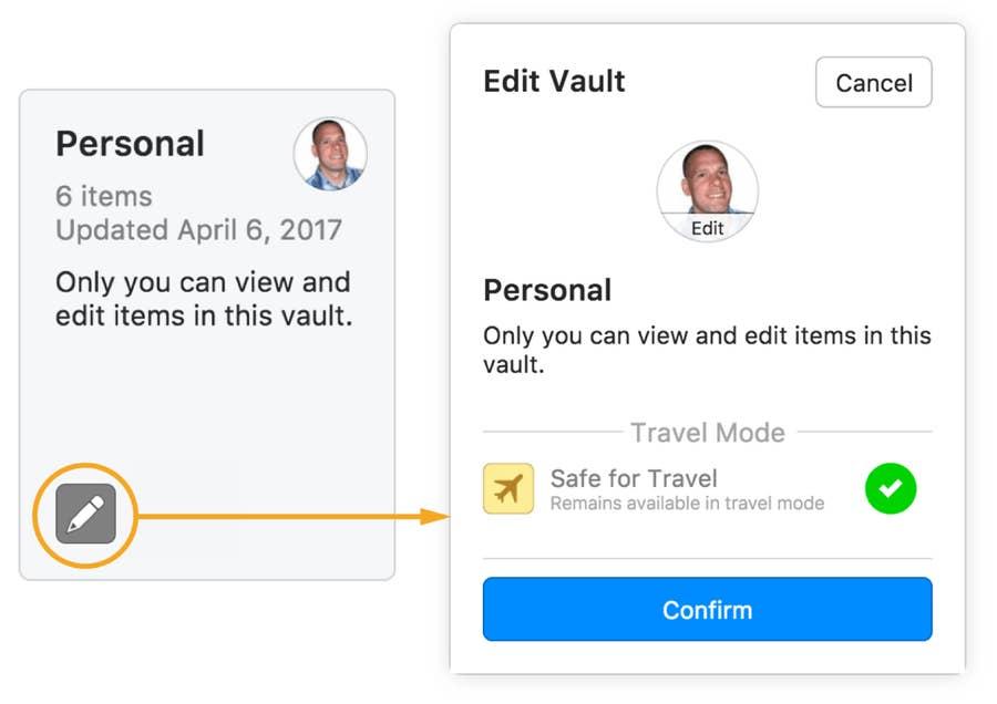 Travel mode 1Password