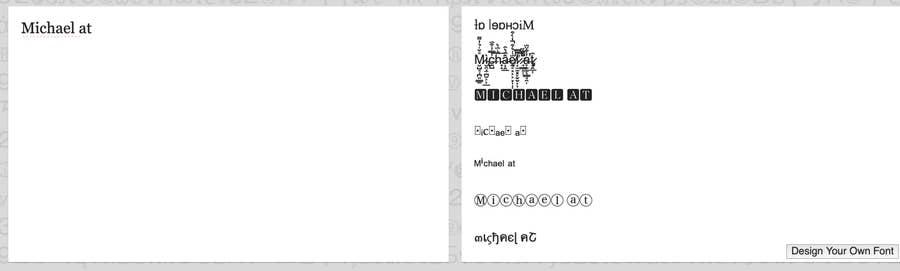 Michael at font Twitter profile Lingojam text