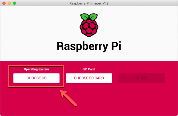 The Choose OS button in the Raspberry Pi Imager