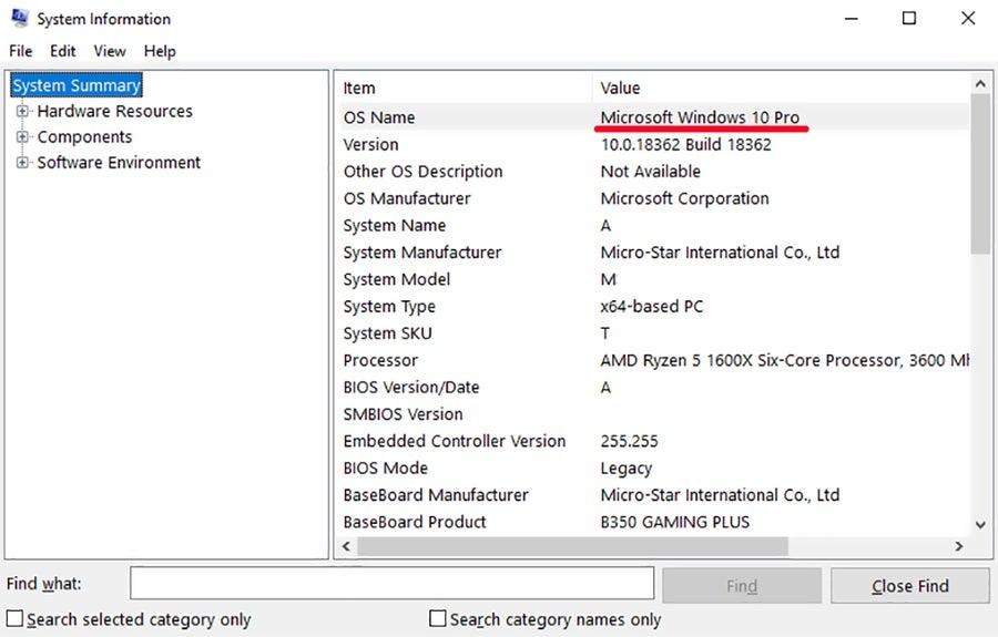 Windows Edition System Information