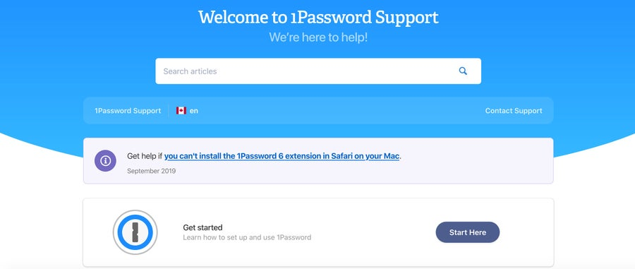 1Password Support Page
