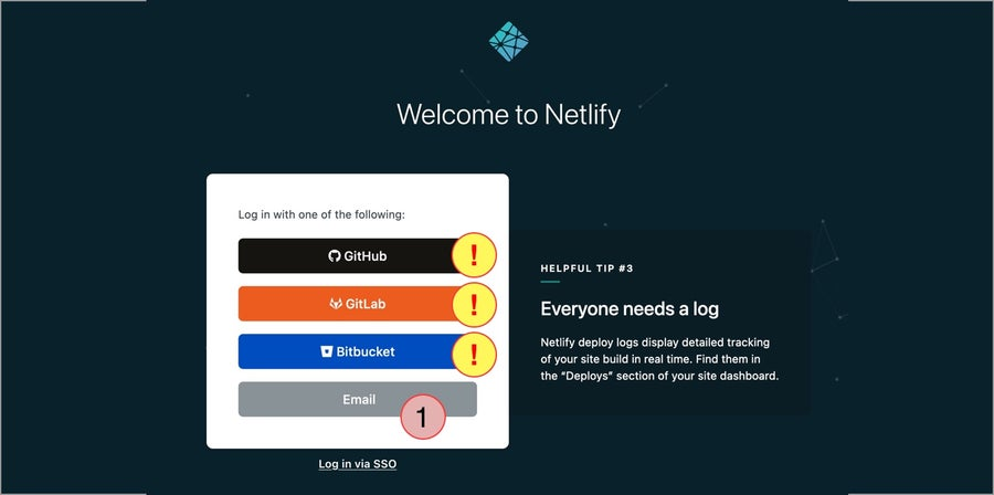 Netlify sign-up page