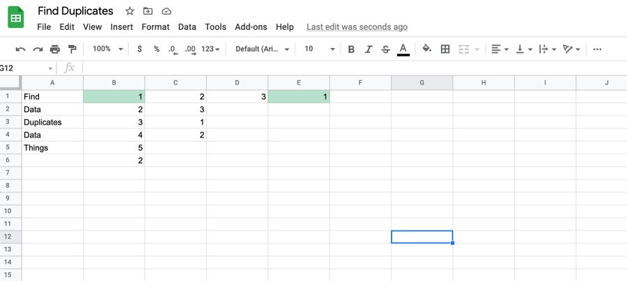 duplicates in rows Google Sheets