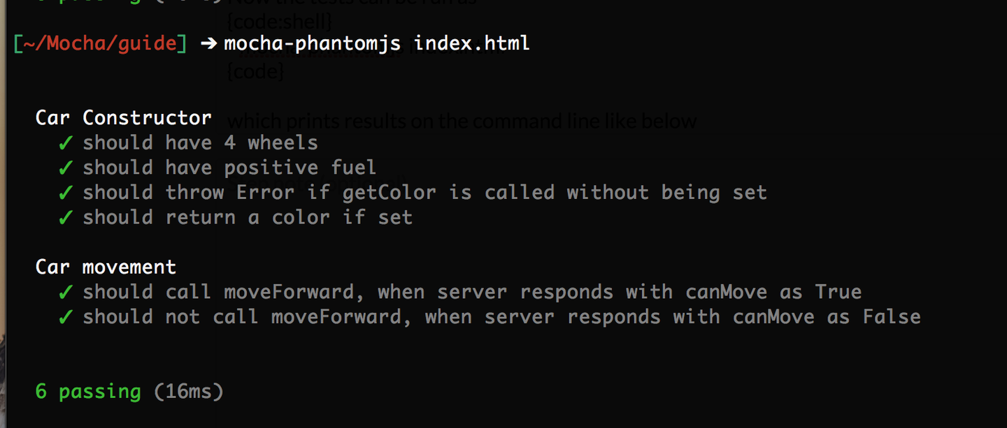 Running the tests from command line.