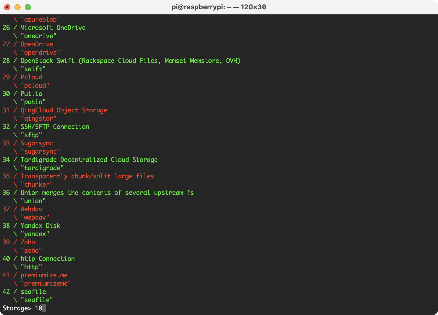 Selecting Dropbox using rclone