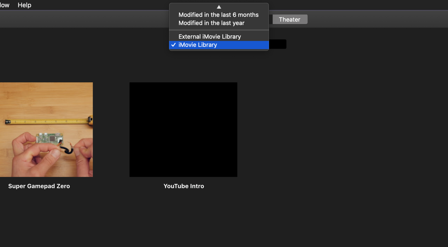 Select the source iMovie library