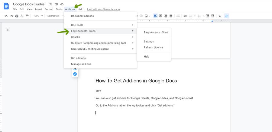 google docs use addons
