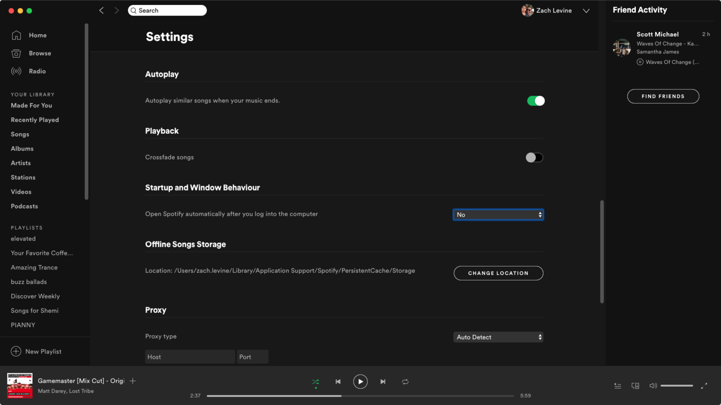 Spotify auto-start settings screenshot