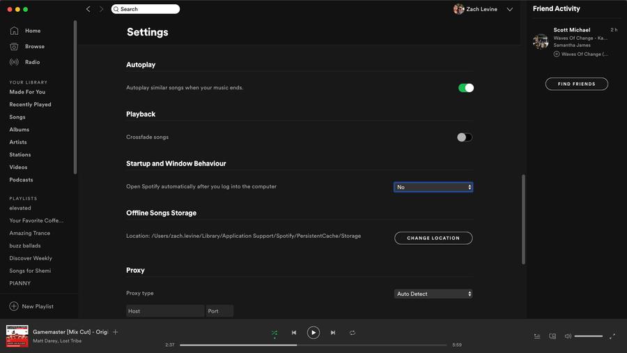 Spotify auto-start settings screenshot