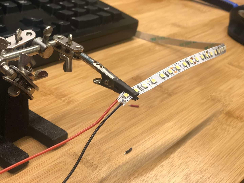 Soldering an LED strip